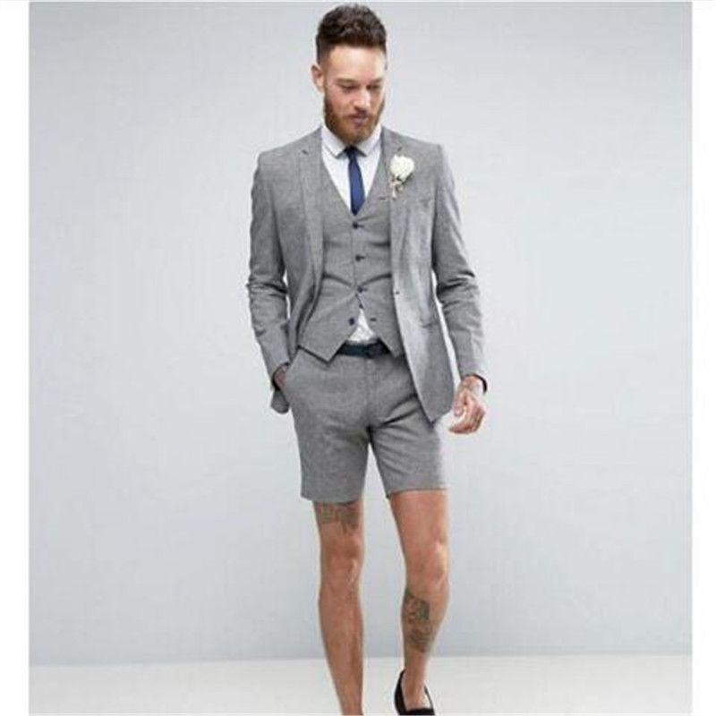 Últimos diseños de pantalón de abrigo Los hombres grises se adaptan al pantalón corto Trajes de verano informales 3 piezas de esmoquin Terno masculino (chaqueta + pantalón + chaleco + corbata)