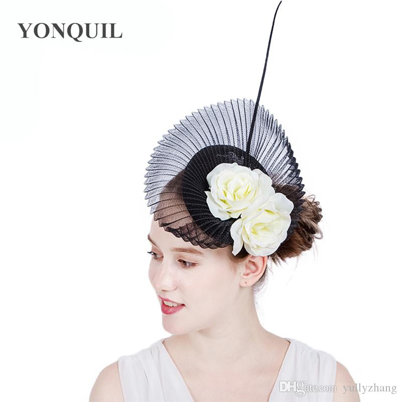 TOP quality Sinamay black wedding fascinator base hat headband with ivory silk flower high-end hair clip ladies wedding cocktail hats SYF140