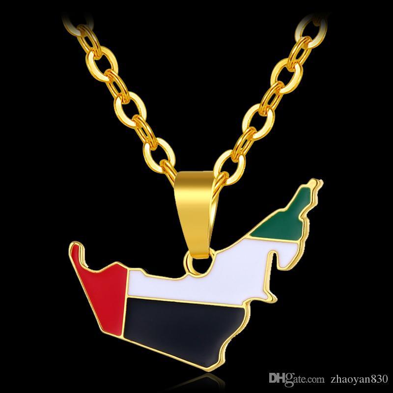 À la mode du Moyen-Orient Emirats Arabes Unis Carte Drapeau Colliers Pendentif couleur or pour carte unisexe Bijoux Bijoux Femme