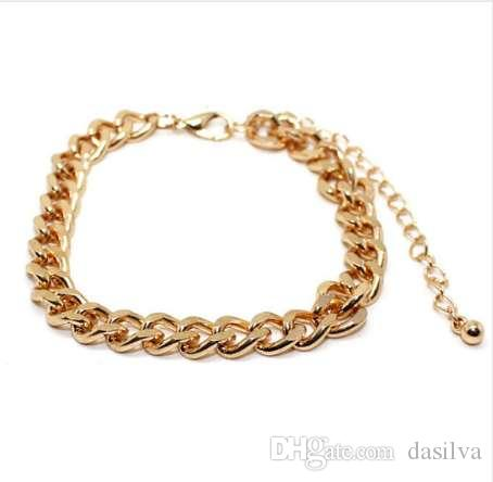 Fashion Gold Color Cuban Link Bracelet Curb Chain Bracelet Men Women Hippie Hip hop Jewelry