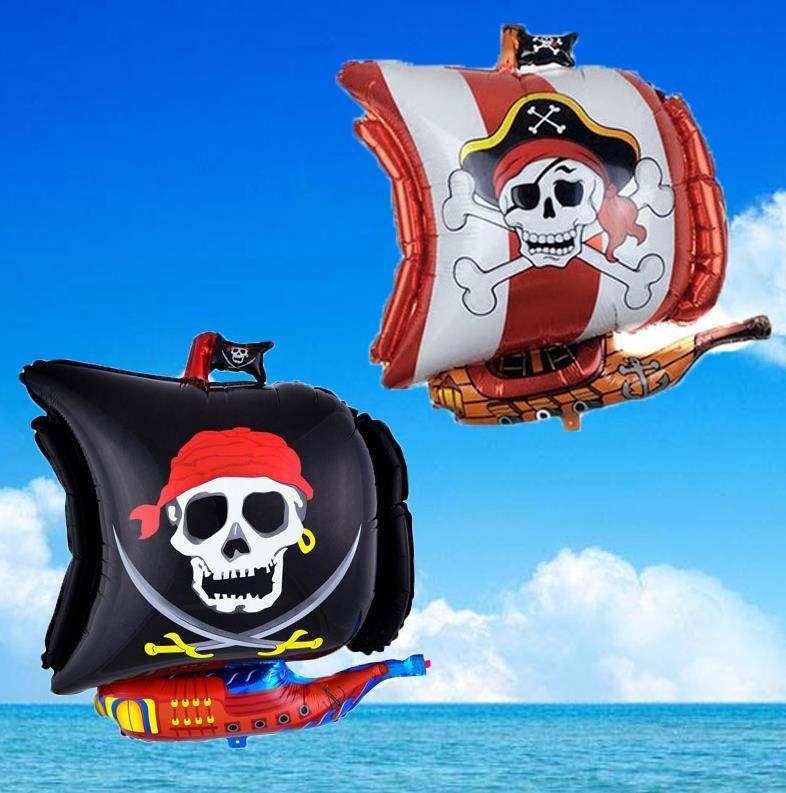 Navio pirata em forma de balão da folha crânio pirata Crossbones Foil Balloons Halloween Party decorações diy presentes das crianças brinquedo