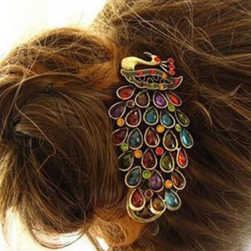 1Pcs Luxury Ladies Vintage Colorful Rhinestone Gem Peacock Barrette Hairpin Hair Clip