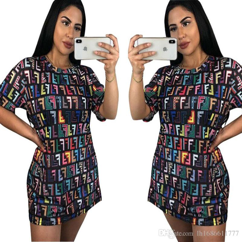 Multi colour letters woman's dress Summer casual loose solid color Breathable T-shirt dress Short sleeve round neck 2018 woman Mini dress