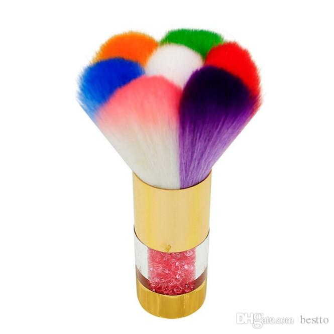 makeup tools UV Gel Powder Remover Nail Dust Cleaning Brush Cleaner 7 color dust brush long handle with diamond Nail Brushes