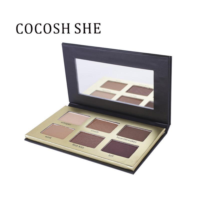 COCOSH SHE Eyeshadow Palette 6 Cores Smokey Matte Natural Sombra de Olho Cosméticos À Prova D 'Água EyeShadow Maquiagem com Espelho cosmético