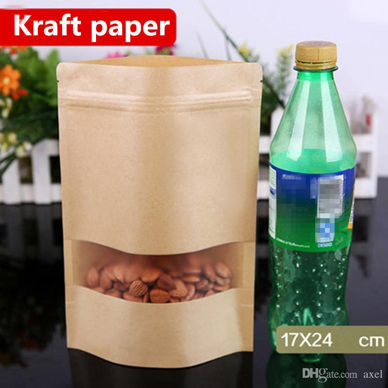 17x24 cm Soporte Kraft Ventana de papel Frosted Showcase Empaquetado Bolsas de alimentos Sellado por calor Zip Lock Reutilizable Hornear Dulces Bocaditos Paquete de té Bolsa