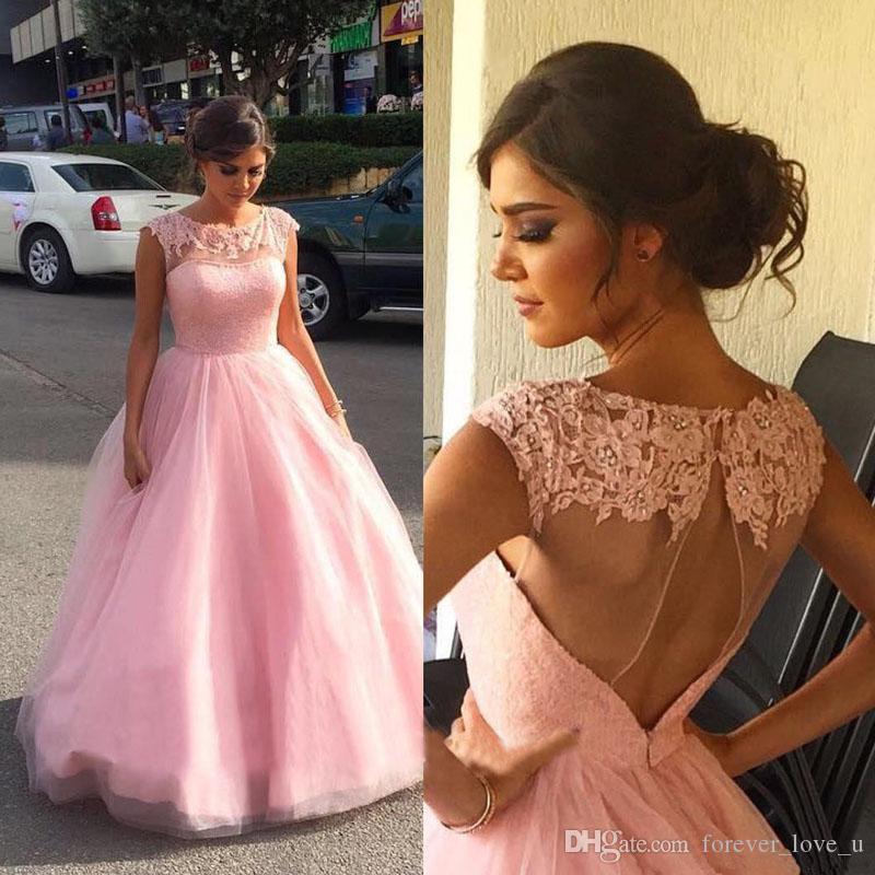 2019 놀라운 블러쉬 핑크 명주 댄스 파티 드레스 긴 공식적인 저녁 파티 가운 쉬어 목 페르시 레이스 아플리케는 열기로 돌아 가기 섹시한 드레스를 잘라