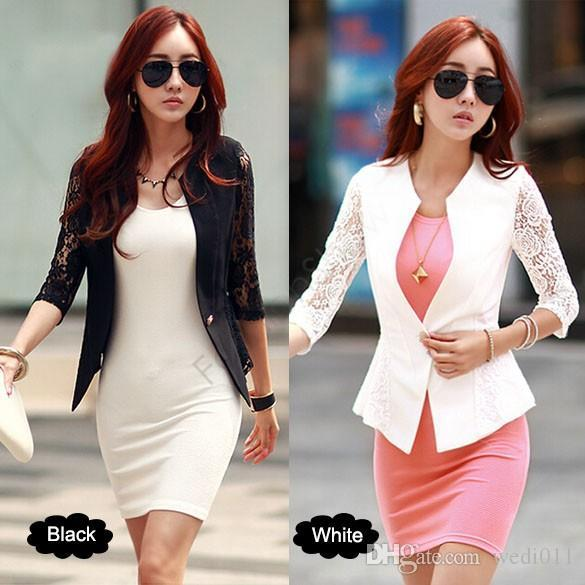 2018 New Fashion Spring Women Jacket Suits Short Design Slim Jackets White Black Lace Sleeve Short Coat For Women Lady Girl 12