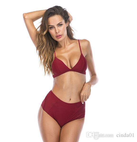 البرازيلي بيكيني عالية الخصر مثير البيكينيات المرأة رفع ثلاثي كأس ملابس الشاطئ ارتداء الصلبة المايوه السباحة