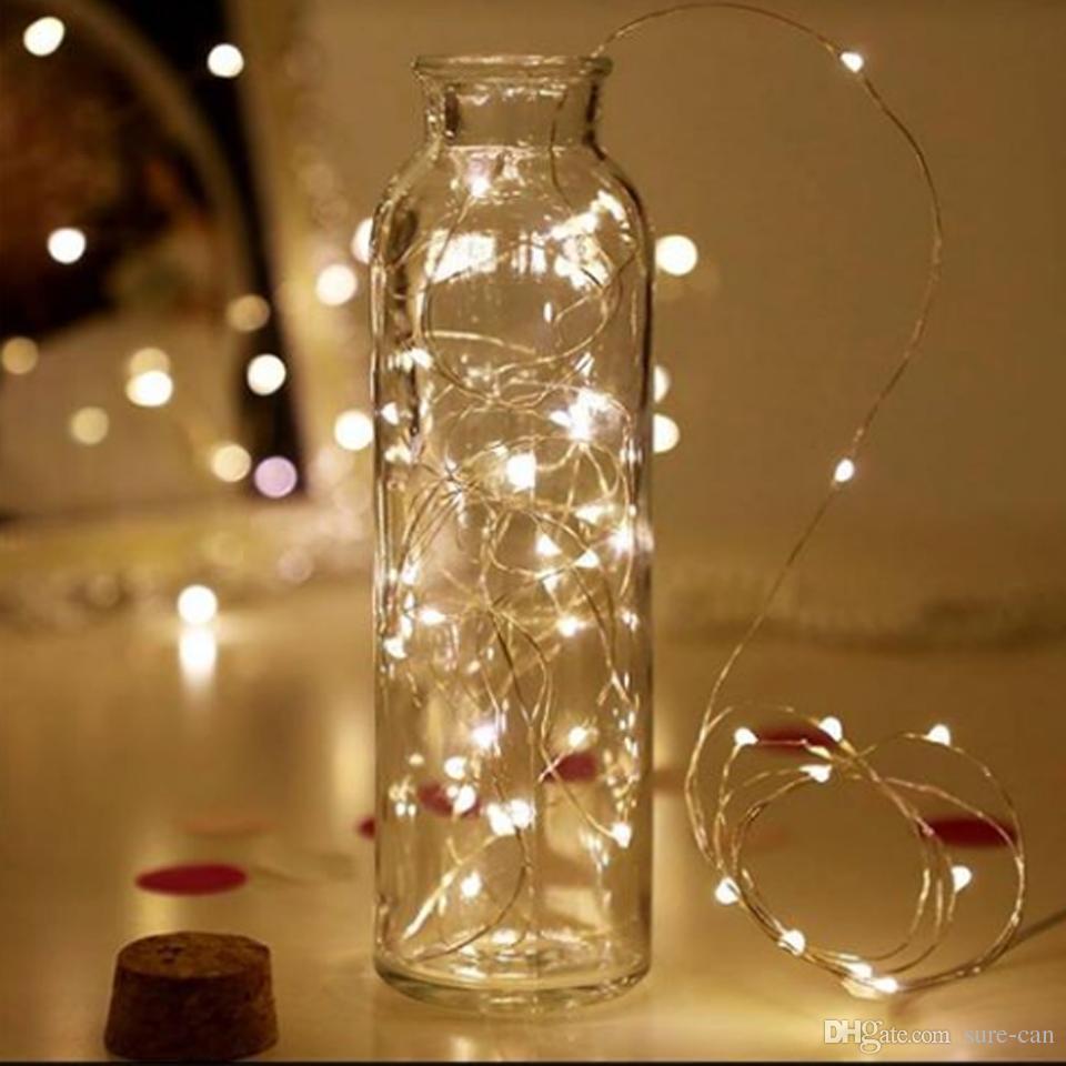 LED Wazon String Light Cork Typ Wodoodporny Przycisk Wodoodporny Bateryjnie Wróżki Światła Na Wesele Strona główna Diy Dekoracje Ciepłe Biały / Biały