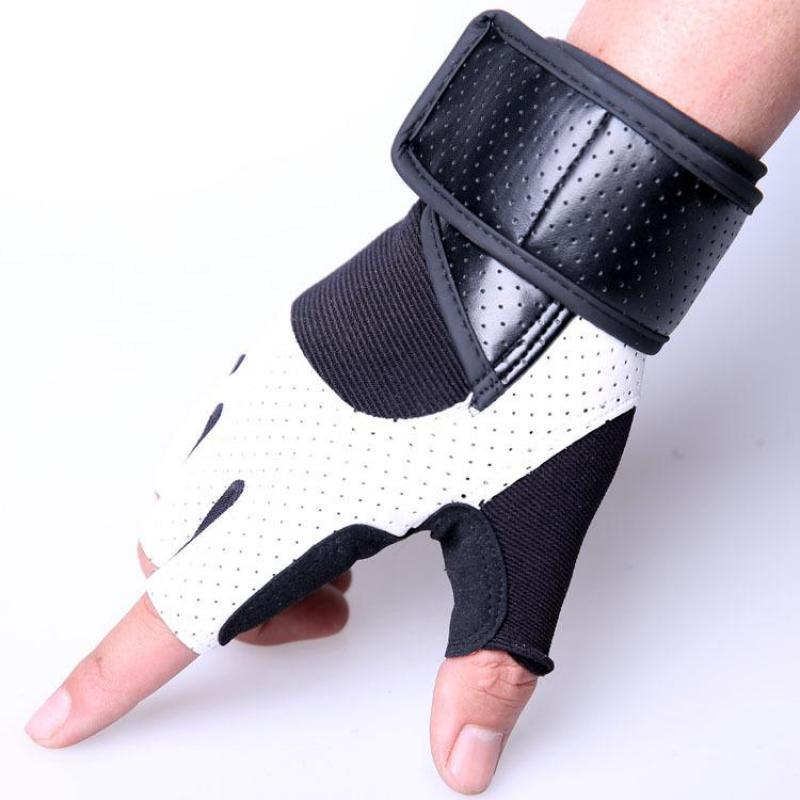 PU Leather Stitching Guantes Gym Gloves Body Building Exercise Training Weight Lifting Fingerless Fitness Gloves For Men Women