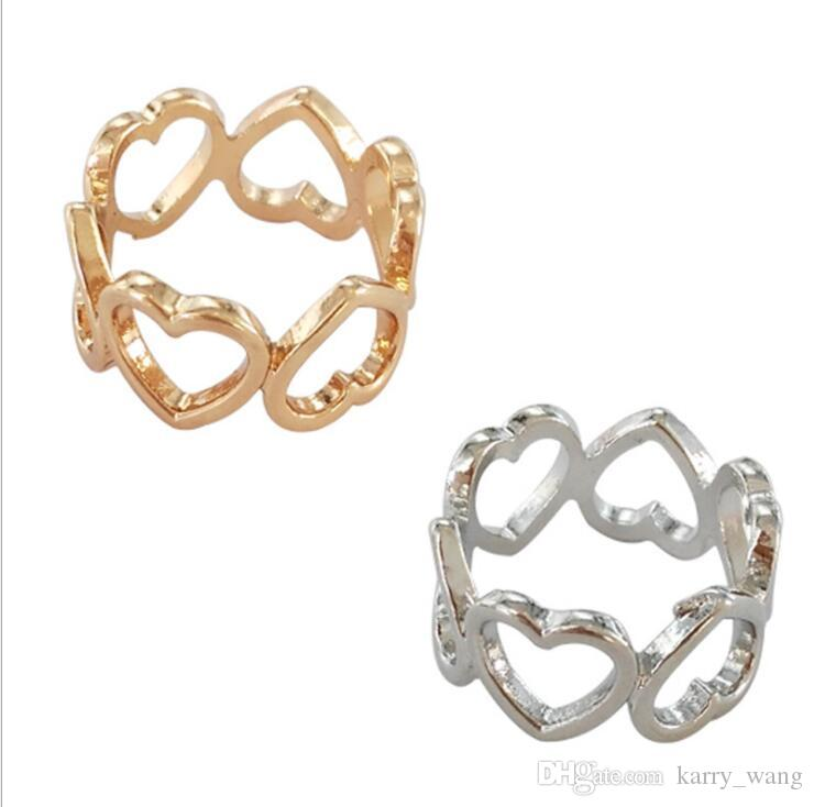 Simple fashion metal Korean love girl personalized heart-shaped ring joint ring