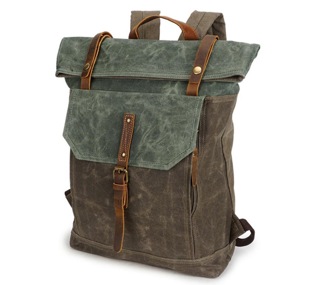 3 Colors Retro Designer Canvas Leather Backpack - Outdoor Travel Daypacks Laptop Backpacks - Unisex Casual Rucksack Satchel Bookbag