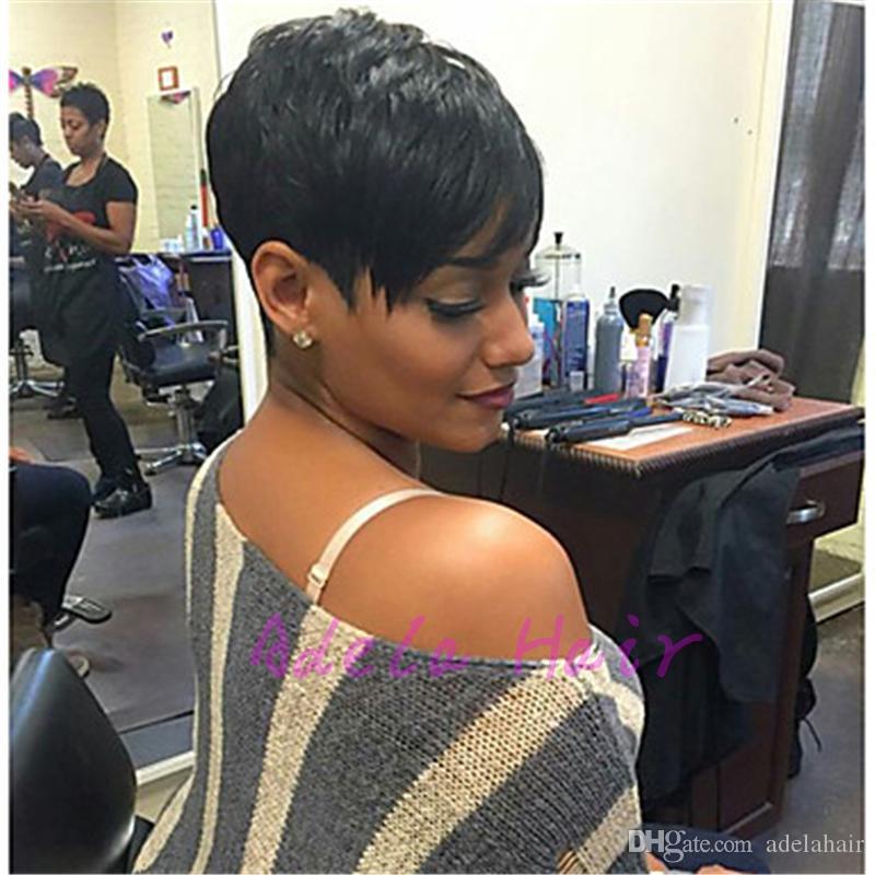 Celebrity Perruque Vente Chaude Péruvienne Vierge Cut Perruque de Cheveux Humains Perruques Droite Courte Coupée Pixie Dames Perruque pour Femmes Noires