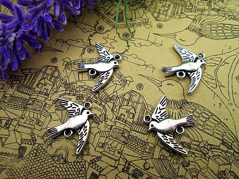 60pcs swallow Charms -Antique silver Bird swallow Charms connectors Pendants 16x21mm
