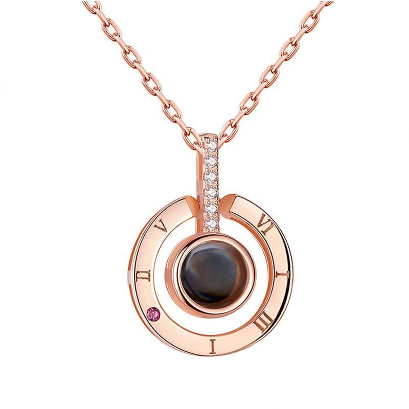 Collier tour de cou en argent sterling Colliers à mémoire Femme 100 langues Je t'aime chiffres romains pendentif en cristal Collier