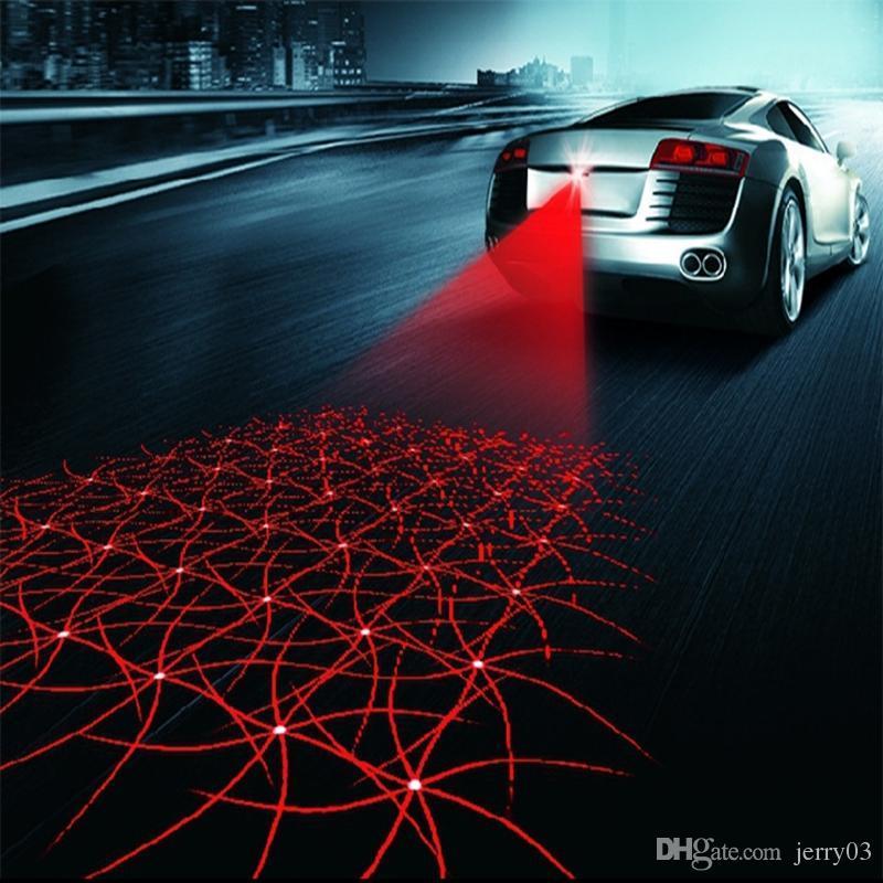 Universal LED Car Luz De Nevoeiro Da Motocicleta Laser Anti Colisão Lâmpada de Cauda Auto Moto Sinal De Estacionamento De Frenagem Lâmpadas de Aviso de Carro styling