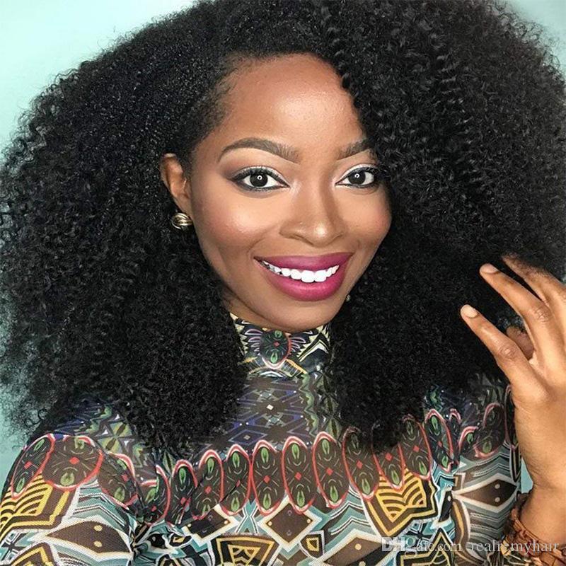 Perruques de cheveux humains brésiliens bon marché avec des cheveux de bébé pré plumés 150 densité brésilienne sans colle afro crépu bouclés