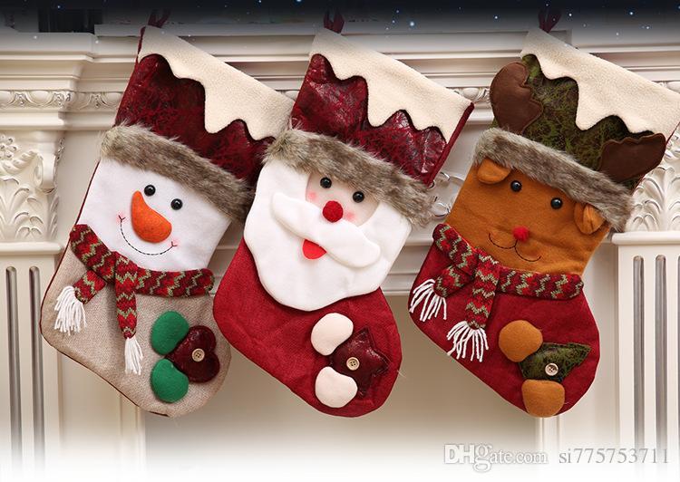 Decoração de Natal Presente Santa Snowman Socks Decoração Natal Socks Gift Bag