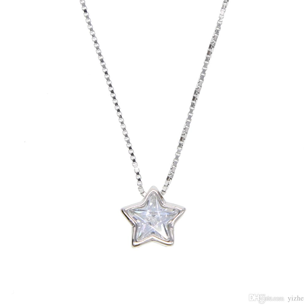 100% real 925 sterling silver star heart shape pendant necklace with silver gold box chain necklace for wedding jewerlry