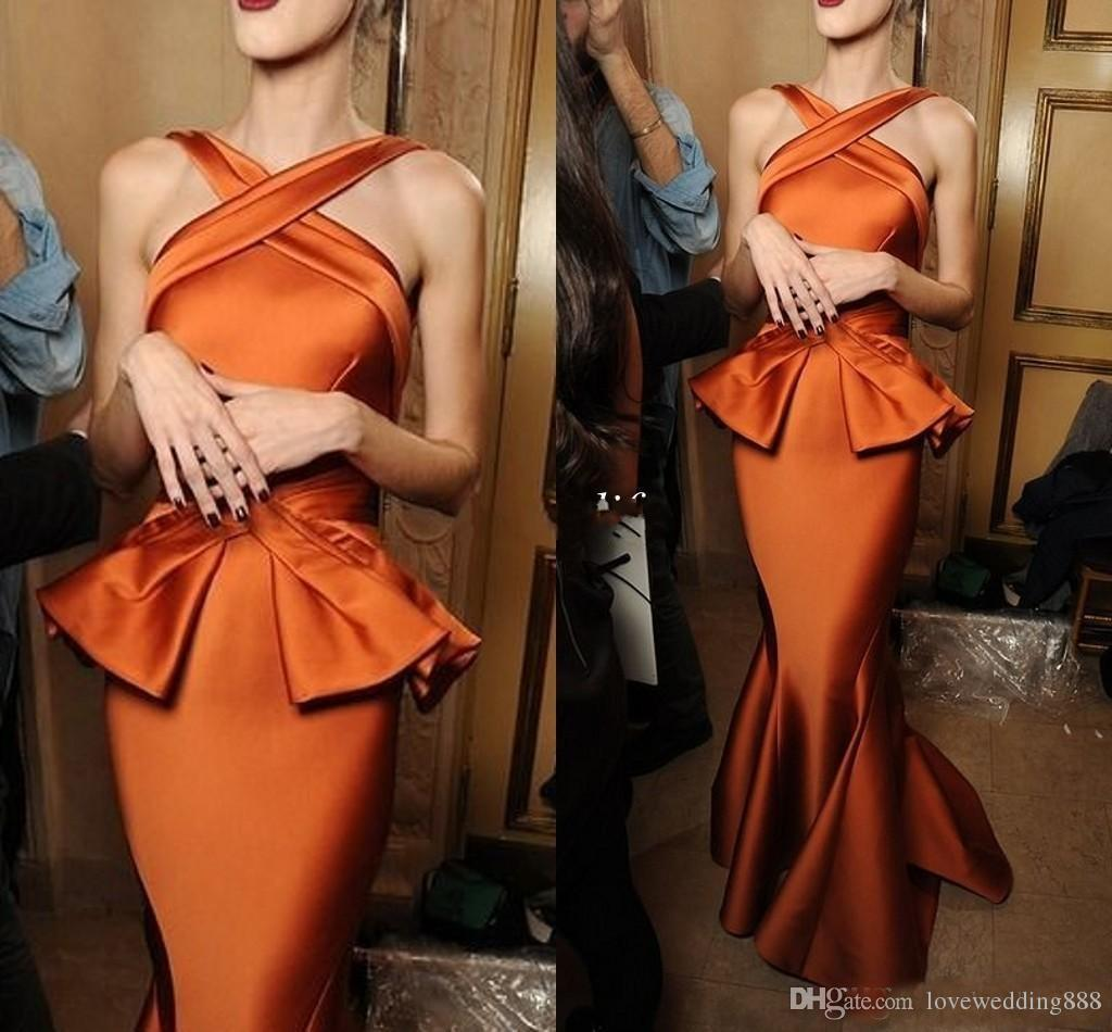 2019 Unique Vintage Burnt Orange Mermaid Evening Dresses Ruched Satin Cross Neck Women Long Formal Party Gowns Cheap Arabic Prom Dress