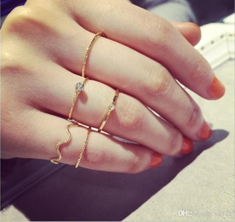 Новый простой мода ювелирные изделия Корея волна пятисекционный поток с дрель кольцо пищи совместное кольцо женский хвост кольцо