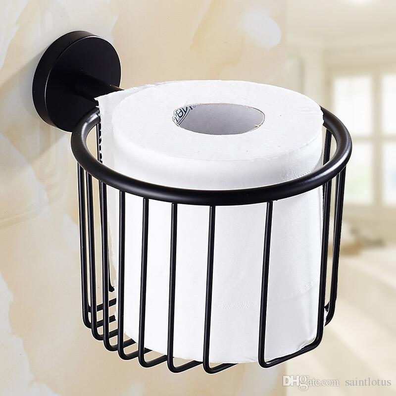 black Stainless steel Bathroom Shower Room Toilet Paper Basket Holder Round Tissue Rack Shelf Wall Mounted