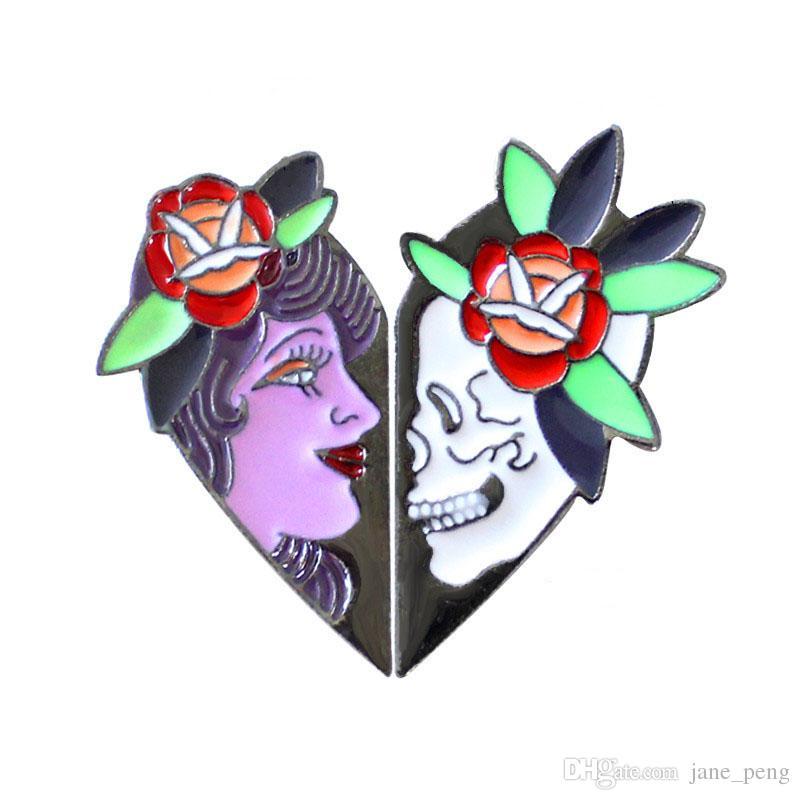 Black Queen White Skeleton Enamel Flower Brooches Pins Heart Shape Punk Style Broches Set Fashion Jewelry Wholesale Women Mens Lapel Pin