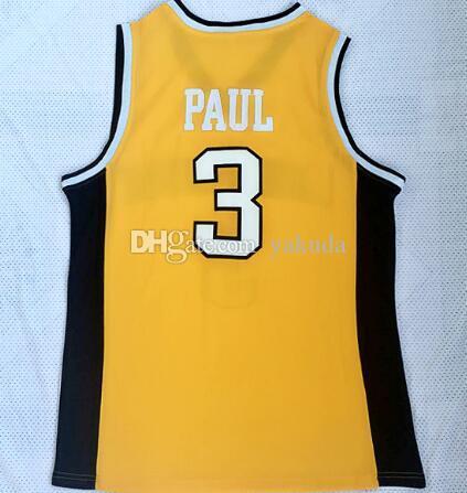 2018 جديد رجل ويك غابة جامعة كريس بول 3 كرة السلة الأصفر جيرسي، خصم المدربين رخيصة كرة السلة ملابس، دروبشيبينغ مقبولة