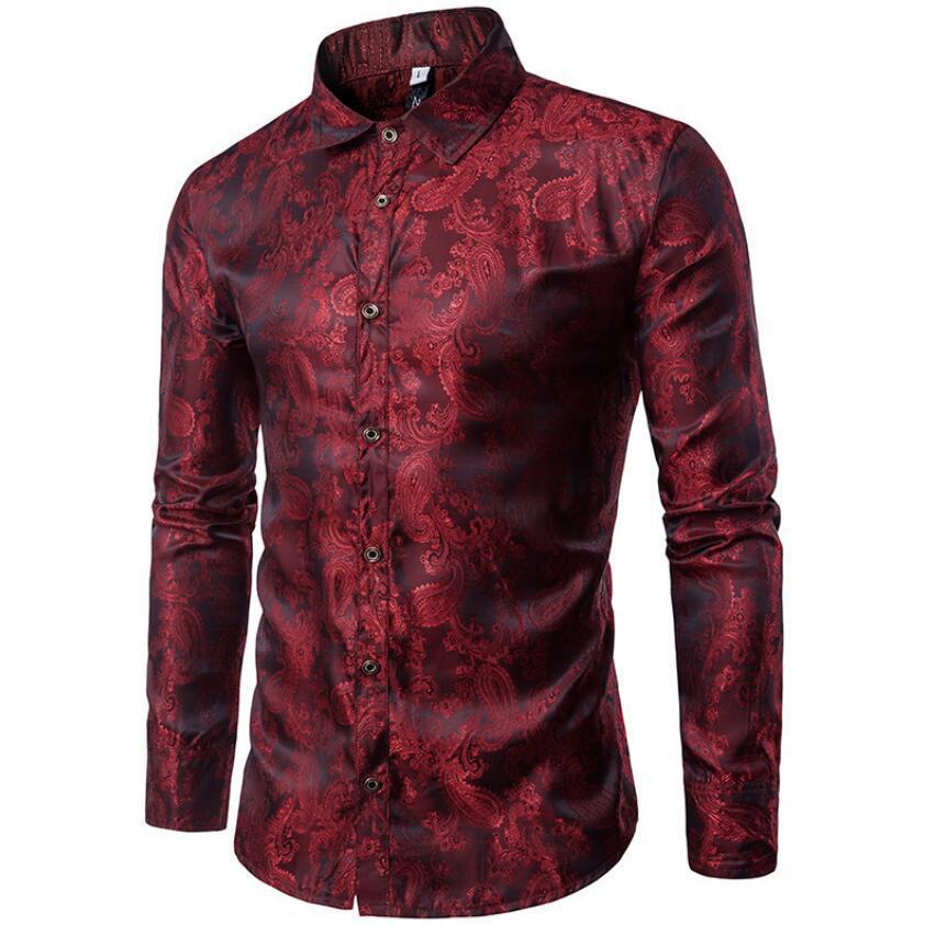 Padrão Bordado dos homens Camisas de Manga Longa Design Retro Fino Casual Camisa Dos Homens de Moda Roupas de Festa de Formatura Clube Até Camisas