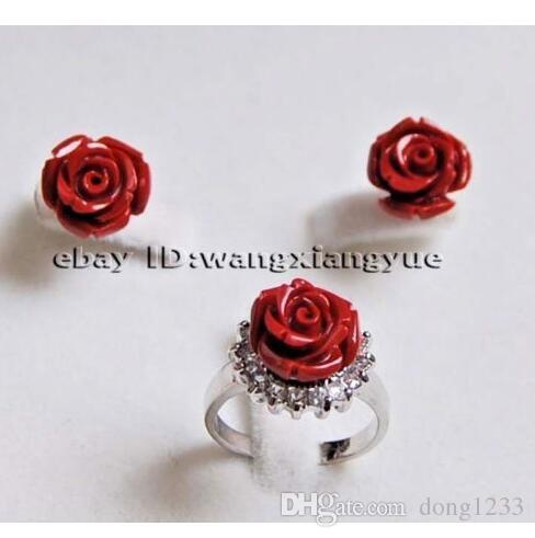Charmant! 12MM sculpté à la main Ensemble Corail Rouge Fleur Boucles d'oreilles / Bijoux Bague