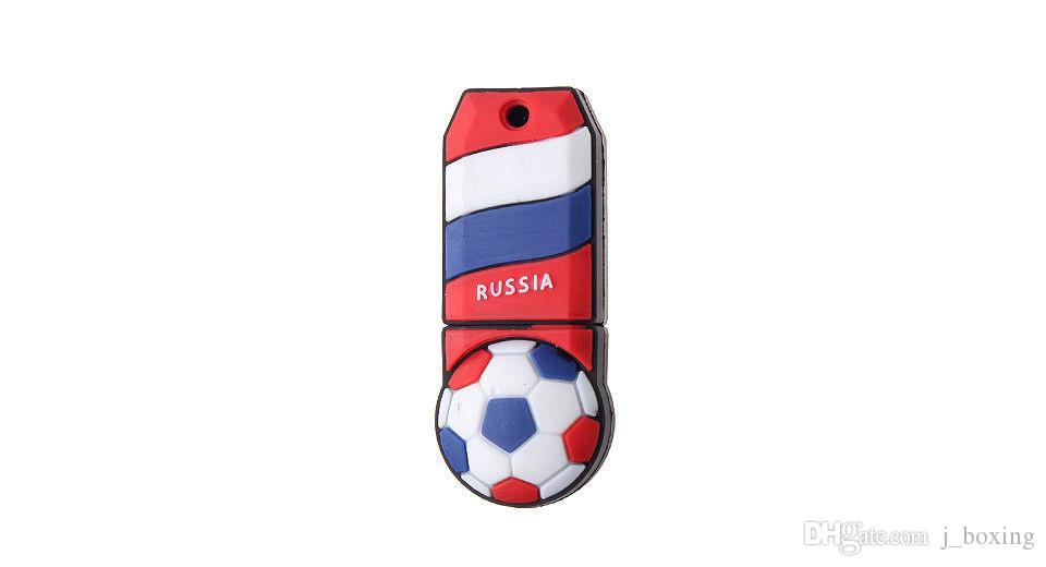 Free Shipping 2018 World Cup Cartoon Football Flag 16G 32G USB 2.0 Flash Drive Soccer Russia Team Fans Gift for PC Laptop USB Memory Stick