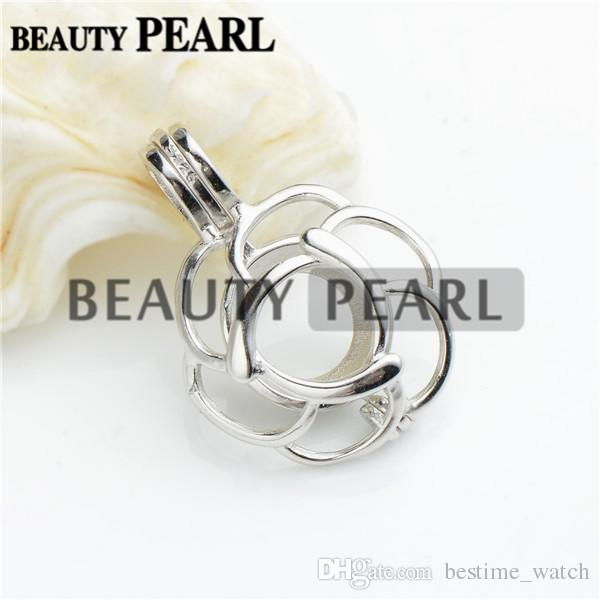 Bulk of 3 Pieces Pick A Pearl Locket Wish Love 925 Sterling Silver Jewellery Flower Cage Pendant
