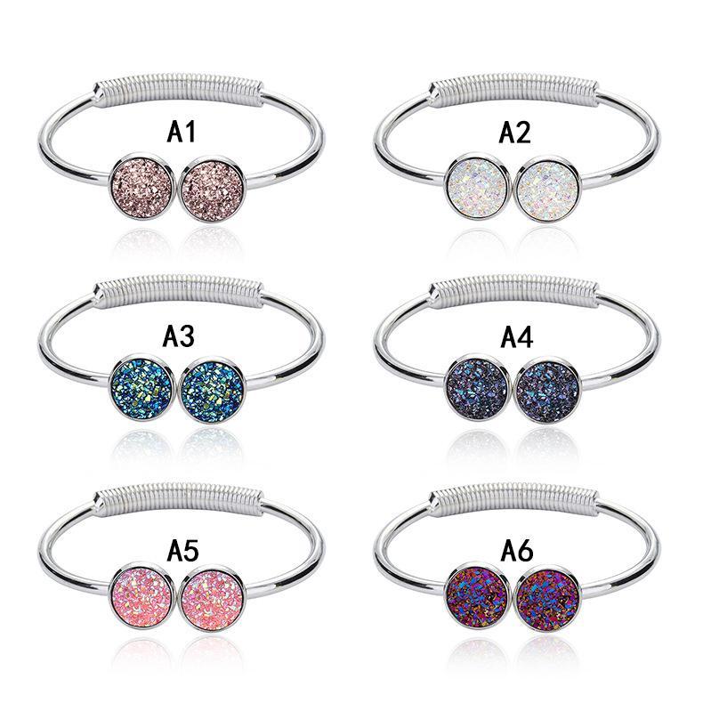 Top quality druzy polsini braccialetti rotondo geode naturale pietra strass pavimenta drusy fascino estensibile braccialetti di filo per le donne gioielli di moda