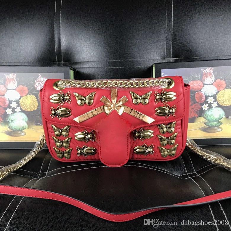 Mariposa del diseñador del bolso de hombro de la cadena patrón de onda para las mujeres ocasionales de cuero real de la palma de la moda con el logotipo bolsas bolsos # 443497 26x15x7cm