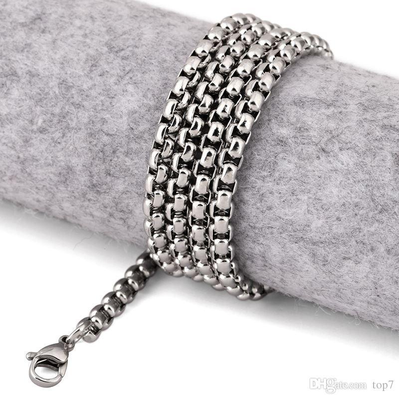 2018 nuevo collar de acero inoxidable de los 70cm de los hombres 3.8mm caja redonda cadena de eslabones collar de acero inoxidable joyería de plata hombres mujeres navidad