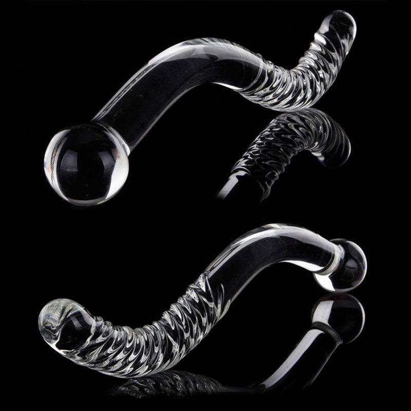 New Big Long Double Bead Crystal Glass Dildo Fake Penis Anal Butt Plug Vagina Clit Stimulator Female Gay Masturbation Sex Toys Y18102305