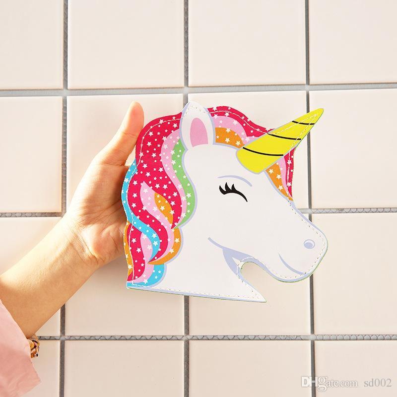 Cartoon Unicornio borsa Nuovo raccoglitore della moneta bello pratico Unicorn Ragazze Zipper sacchetto della carta facile trasporta 4 8smb cc