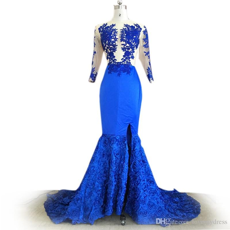 on feet shots of online noveldesign Sexy African Prom Dresses Royal Blue With Long Sleeves Lace Applique  Mermaid Designer Evening Gowns Side Slit Formal Dress Cheap Navy Blue Prom  ...