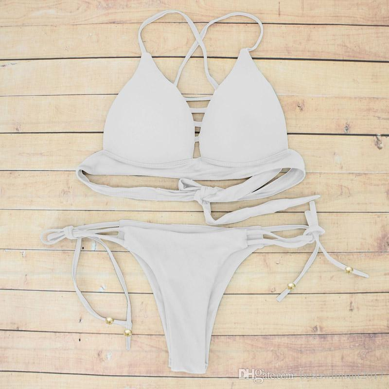 Biquíni 2018 Sexy Brasileira Terno de Natação Mulheres Biquíni Set Beach Wear Maiôs Mulher Cintura Baixa Swimsuit Push Up Bandage Swimwear