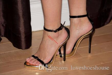 2018 Sexy High Heels sandalias negras Dos bombas de correa Zapatos de boda para mujer Zapatos de fiesta de verano tacones finos