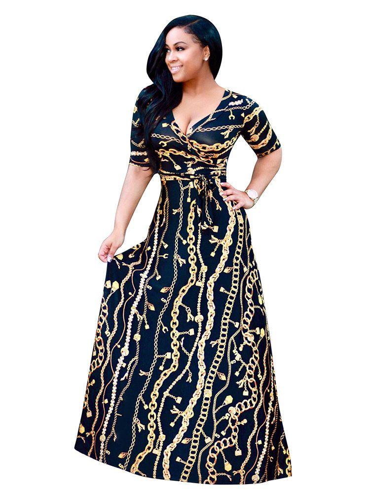 Dress Sari 2017 New Cotton European Fashion Hot Golden Long Chain Pattern Printing Sleeve Nightclub Sexy Dress Skirt