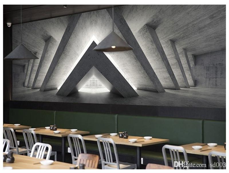 원활한 벽화 종이 3D 공간 시멘트 스티커를 확장 커피 숍 바 장식 성격 기하학 배경 벽지 35mn ii
