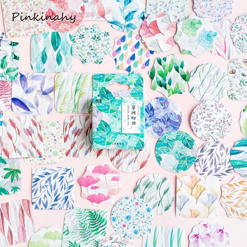 45 pcs/lot Plants Green Leaves mini paper sticker decoration DIY ablum diary scrapbooking label sticker kawaii stationery