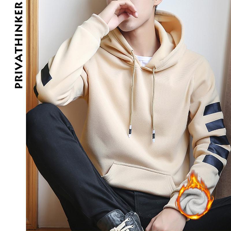 Venta al por mayor Casual Invierno Fleece Hoodies Hombres Mujeres Harajuku Color Sólido Caliente Sudadera Coreana Adolescentes Moda