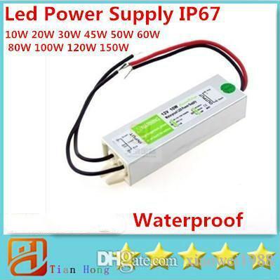 10W 20W 30W 45W 50W 60W 80W 100W 120W 150W Led 전원 공급 장치 AC 90V-250V 방수 IP67 Led 변압기 DC 12V 무료 배송