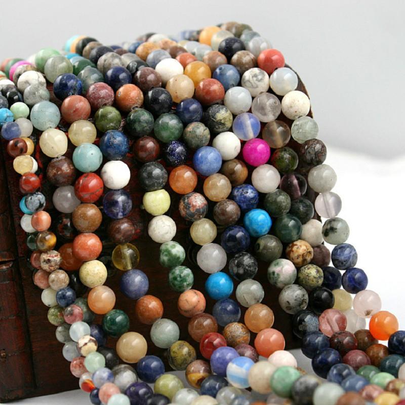 8mm Haute Qualité 4mm 6mm 8mm Couleur Mixte Aléatoire Nature Vrac Semi-précieux Rond Entretoise Pierre Perles pour DIY Mode Collier Bijoux
