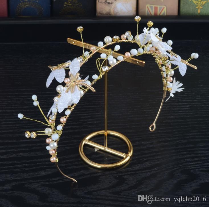 Сладкий свадебный головной убор, кружевные цветы, стрекоза обручи, бусины ручной работы, бабочки, корона свадебные аксессуары.