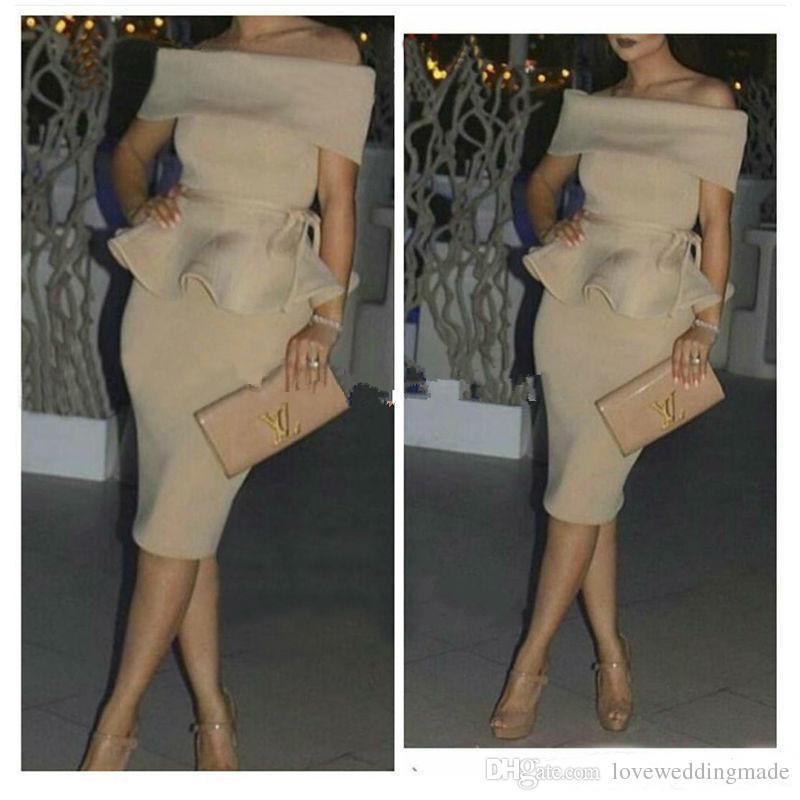 2019 elegante champán corto cóctel vestidos fuera del hombro satén Peplum vestidos formales baratos Dubai árabe mujeres vestido de fiesta