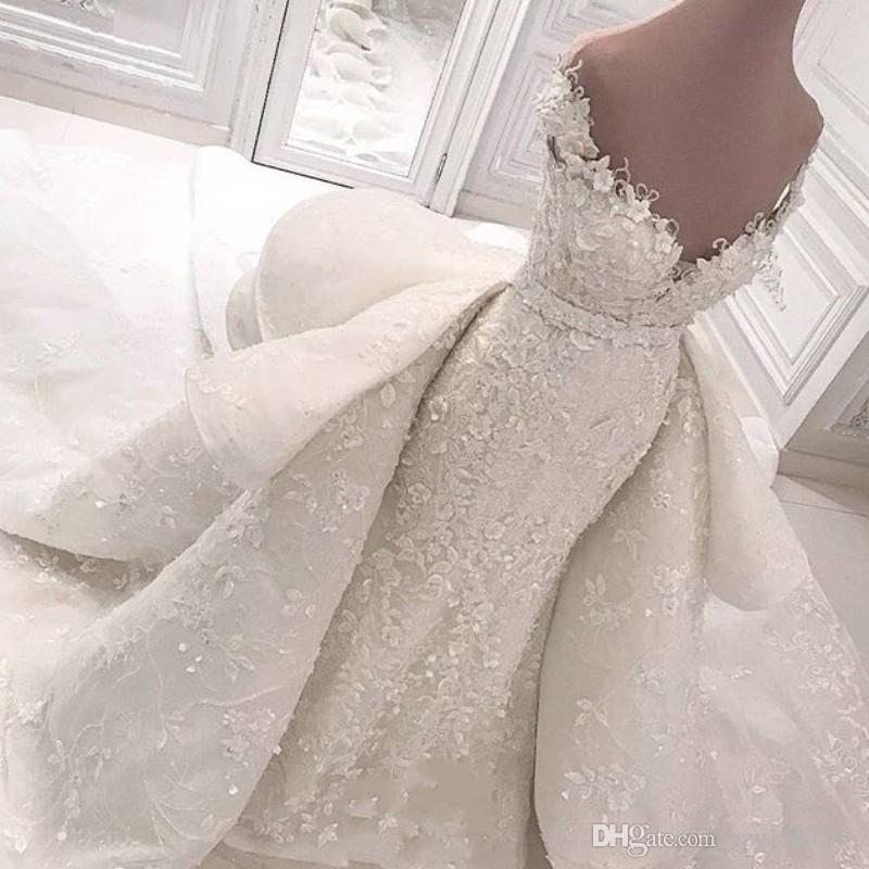 Великолепная Аравия русалка свадебное платье с пособие со скидкой с плечами бусины кружевные аппликации свадебное платье удивительный капелн поезд саудовское свадебное платье